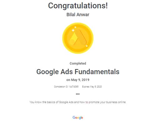 Bilal Anwar Google Ads Fundamentals Certification