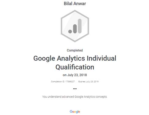 Bilal Anwar Google Analytics Certification