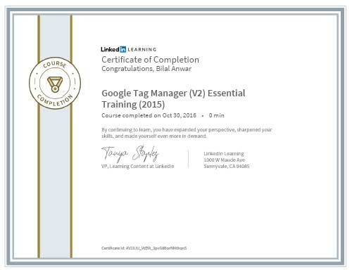 Bilal Anwar Google Tag Manager Certification